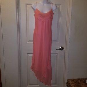 Stunning Jovani Asymmetric Peach Formal Dress